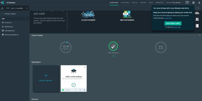 IBM Bluemix Dashboard